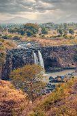Blue Nile Falls In Dry Season With Evenin Dramatic Sky. Ethiopia Wilderness, Amhara Region, Near Bah poster