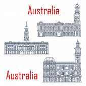General Post Office Of Melbourne, Adelaide Town Hall Buildings. Vector Architecture Of Australia, Ad poster