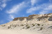 Beautiful limestone hillock in the desert of Bahrain