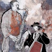 pic of saxophone player  - Vector illustration of a saxophonist and bassist playing jazz music with double - JPG