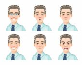 Face Expressions Of Handsome Man, Set Of Six Emotions. Different Male Emotions Set. Young Guy Cartoo poster