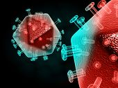 pic of virus  - Digital illustration of  digital background in hiv virus - JPG