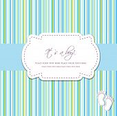 picture of bow-legged  - Baby boy shower card with foot steps and frame for your text - JPG