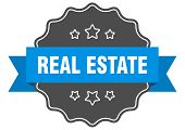 Real Estate Blue Label. Real Estate Isolated Seal. Real Estate poster