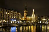 Night View Of Binnenalster Lake And Christmas Market At Town Hall Square Near Hamburg Town Hall (ham poster