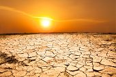 picture of arid  - drought land and hot weather with sun - JPG