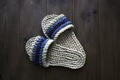 Hand woven straw slippers.