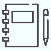Notebook And Pen Line Icon. Studying Vector Illustration Isolated On White. Closed Notepad And Pen O poster