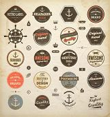 vector set: calligraphic design elements and page decoration, Premium Quality and Seafarer with Ship