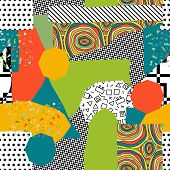 Abstract Pattern In Avant-garde Style-vector Illustration. Mixing Styles And Trends Memphis. Irregul poster