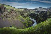 Beatiful Green Canyon Hidden In Icelandic Wilderness August 2018 poster