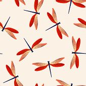 Dragonfly Minimal Seamless Pattern. Spring Dress Fabric Print With Darning-needle Insects. Graphic W poster