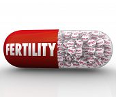 A red capsule or pill with medicaiton balls featuring the word Fertility as well as the outer shell, illustrating prescription medicine for the treatment of infertility