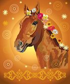 Сhestnut Horse, Vector Colorful Realistic Illustration. Portrait Of Horse With Flowers In Mane Isola poster