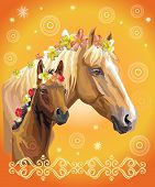 Mare And Foal Vector Colorful Realistic Illustration. Portrait Of Horses With Different Flowers In M poster
