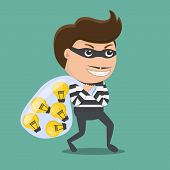Thief Stealing Idea . Vector Illustration.  Flat Design Of Thief . poster