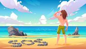 Castaway Man On Uninhabited Island, Lonely Stranded Longhaired Character Stand On Seaside Looking In poster