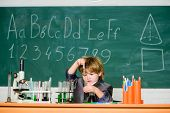 Boy Near Microscope And Test Tubes School Classroom. Knowledge Concept. Knowledge Day. Basic Knowled poster