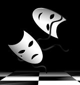 stock photo of mummer  - in abstract dark room are two flying white theatrical masks - JPG