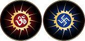 stock photo of swastik  - Aum the holy motif - JPG