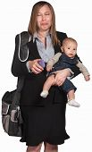 picture of sob  - Crying professional lady with phone and baby in arms - JPG