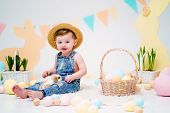 Happy Little Boy In Hat Holding Cute Fluffy Bunny. Friendship With Easter Bunny. Spring Photo With L poster