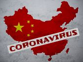 Peoples Republic Of China Map Country Silhouette With A Stamp: Coronavirus On It. 2019 Novel Coronav poster