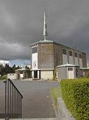 large church under dark sky