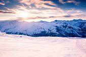 Ski Slopes In Ski Resort In Winter Alps. Meribel, 3 Valleys, France. Beautiful Mountains At Sunset,  poster