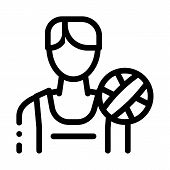 Male Volleyball Player Icon Vector. Outline Male Volleyball Player Sign. Isolated Contour Symbol Ill poster
