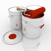 open bucket with red paint and roller