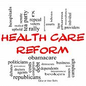 Health Care Reform Word Cloud Concept In Red Caps