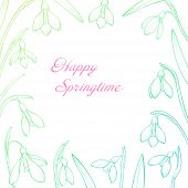 Vector Spring Greeting Card With Hand Drawn Snowdrops. Happy Springtime poster