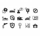 Parking Line Icons. Car Garage And Parking Line Vector Symbols.valet Servant And Paid Transport Park poster