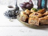 Ramadan Kareem With Arabic Coffee And Traditional Arabic Dessert Baklava With Honey And Nuts. Arabia poster