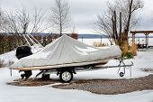 Inflatable Luxury Fishing Motorboat Wrapped In Cover Standing Over Trailer For Winter Period Seasona poster