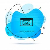 Line Mail And E-mail Icon Isolated On White Background. Envelope Symbol E-mail. Email Message Sign.  poster