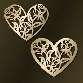 Laser Cut Template Of Flower Hearts. Happy Valentines Day Jewelry Pendant. Openwork Heart With Roses poster