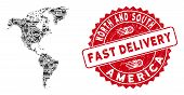Shipment Collage South And North America Map And Rubber Stamp Seal With Fast Delivery Text. South An poster