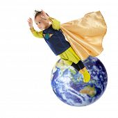 A serious preschool superhero flying high and away from planet earth.  Elements of this image furnis