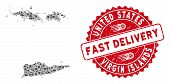 Transportation Collage Usa Virgin Islands Map And Rubber Stamp Seal With Fast Delivery Caption. Usa  poster