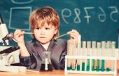 Talented Scientist. Kid Study Chemistry. Biotechnology And Pharmacy. Genius Pupil. Education Concept poster