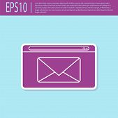 Retro Purple Mail And E-mail Icon Isolated On Turquoise Background. Envelope Symbol E-mail. Email Me poster