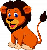 pic of african lion  - Vector illustration of Funny lion cartoon isolated on white background - JPG