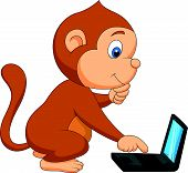 Cute monkey cartoon playing computer