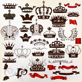 Collection Of Vector Ornate Crowns For Design