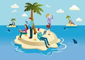 image of palm-reading  - A small tropical island occupied by men and women who spend their time reading books - JPG