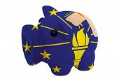 Closed Piggy Rich Bank With Bandage In Colors Flag Of American State Of Indiana