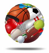 stock photo of boxing  - Sports ball as a sphere made with an organized group of sport equipment as football basketball hockey golf soccer bowling tennis badminton football baseball darts and boxing on a white background - JPG