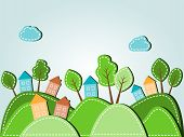 image of tree house  - Illustration of spring hilly landscape with houses dashed style - JPG